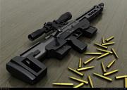 Photoreal DSR Sniper-Rifle z kulami 3d model