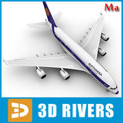 Airbus A380 blue orange v1 by 3DRivers 3d model