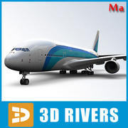 Airbus A380 with blue lines v1 by 3DRivers 3d model