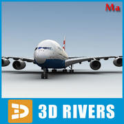 Airbus A380 red blue v1 by 3DRivers 3d model