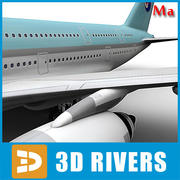 Airbus A380 light blue v1 by 3DRivers 3d model