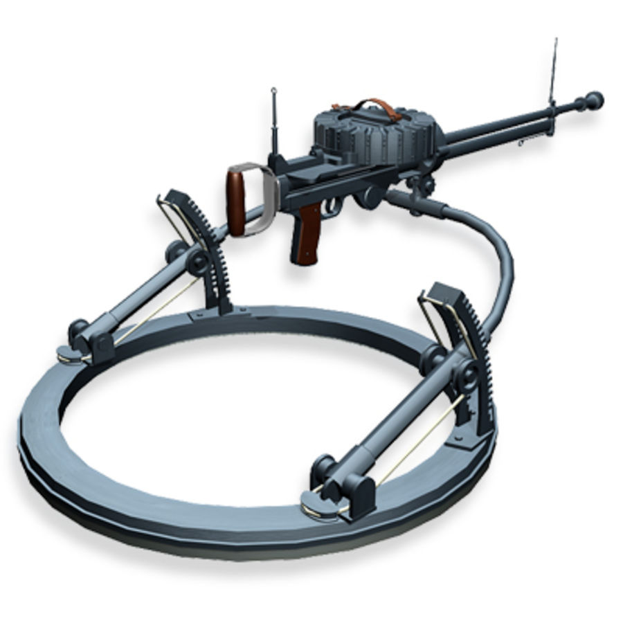 Lewis Machine Gun royalty-free 3d model - Preview no. 2