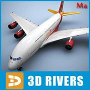 Airbus A380 com cauda vermelha laranja v1 por 3DRivers 3d model
