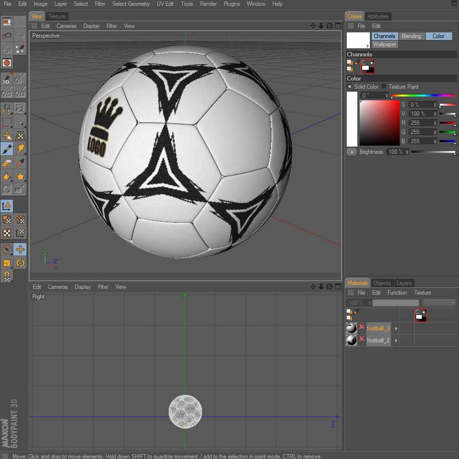 Football Soccerball royalty-free 3d model - Preview no. 14