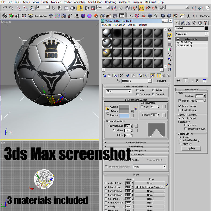 Football Soccerball royalty-free 3d model - Preview no. 12