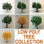 trees collection (7 low poly trees) 3d model