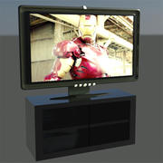 flat hd tv and stand 3d model
