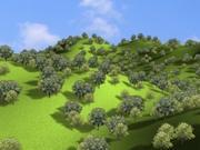 Scène de la forêt sur les collines 3d model