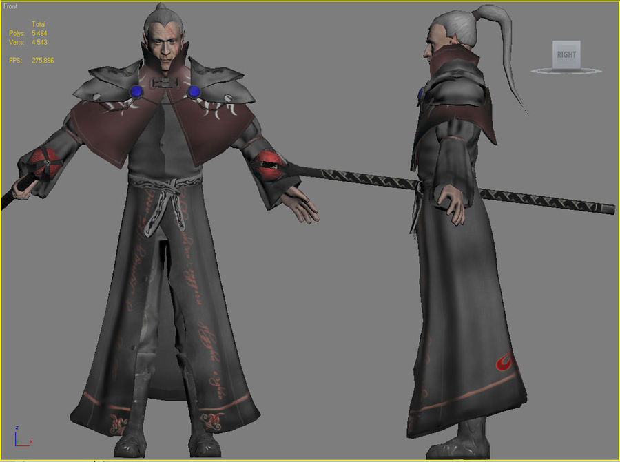 Black Battle Mage royalty-free 3d model - Preview no. 3
