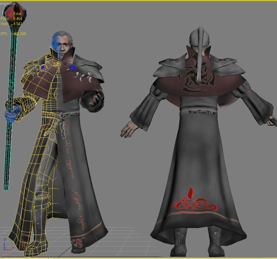 Black Battle Mage royalty-free 3d model - Preview no. 1
