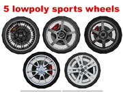 sport wheel lowpoly collection 3d model