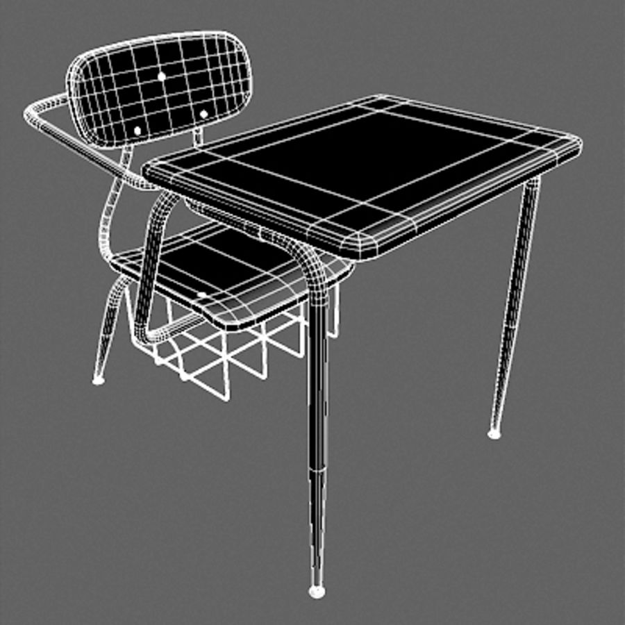 Classroom Desk royalty-free 3d model - Preview no. 2