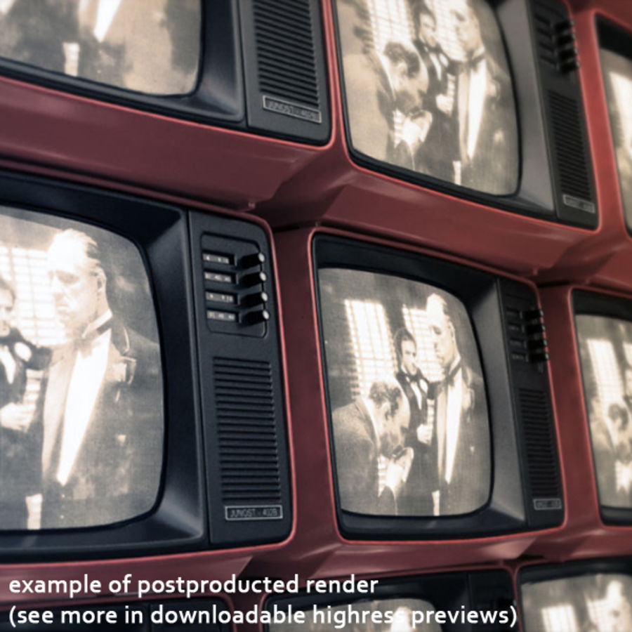 Retro Fernsehen royalty-free 3d model - Preview no. 10