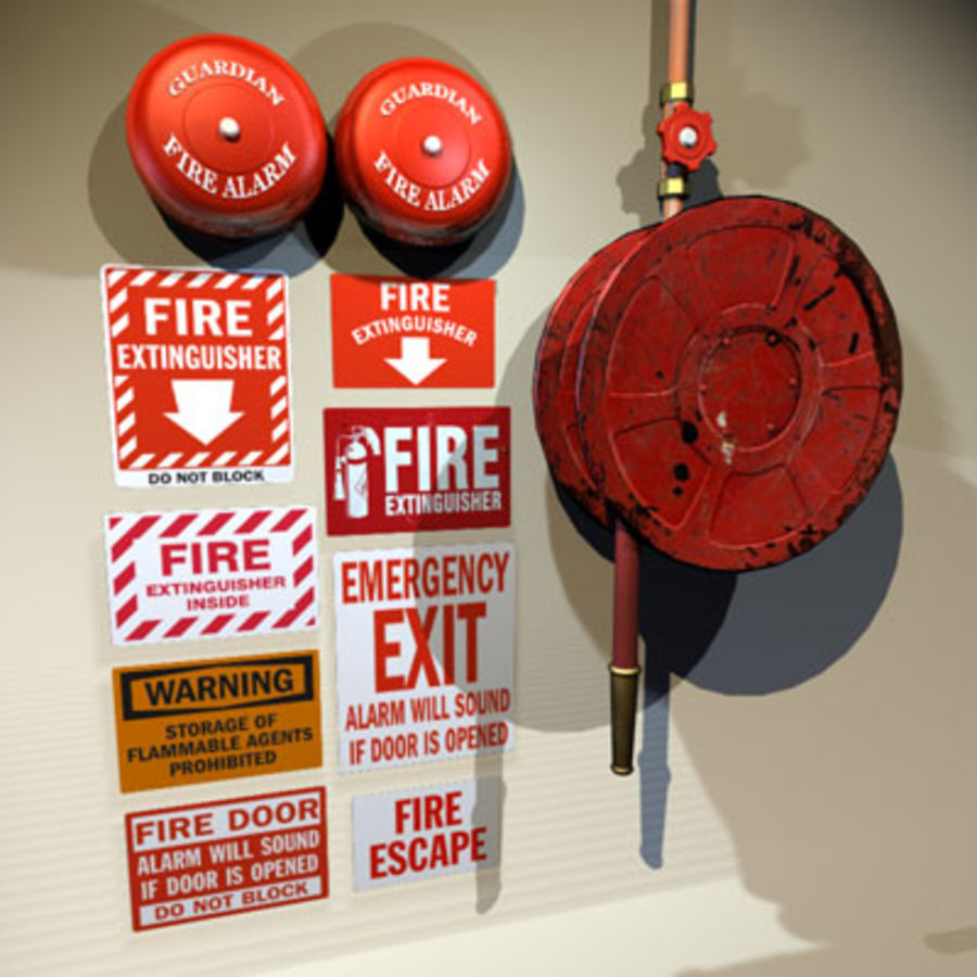Fire Hose and Alarm Bells 01 royalty-free 3d model - Preview no. 1