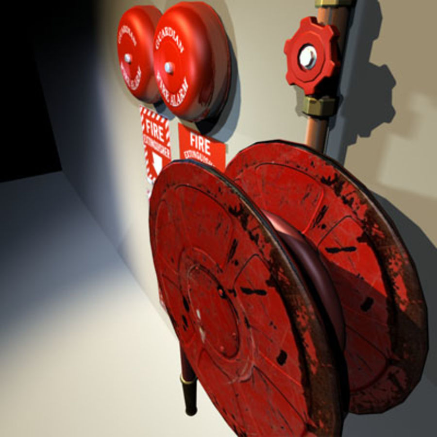 Fire Hose and Alarm Bells 01 royalty-free 3d model - Preview no. 4