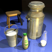 Milk Bottle and Can 01 3d model