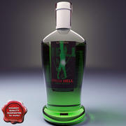 Bottle with absinthe liqueur 3d model