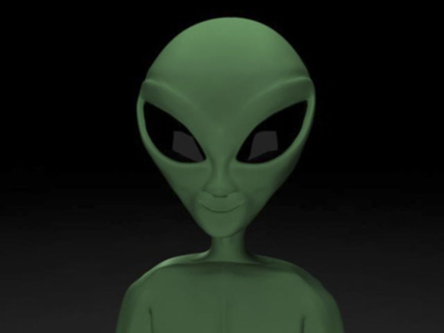 Little Green Alien royalty-free 3d model - Preview no. 3