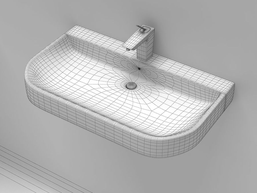 Washbasins 11 royalty-free 3d model - Preview no. 2