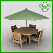 round table with chairs and umbrella 3d model