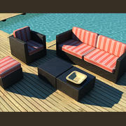 luxury wicker outdoor garden furniture 3d model
