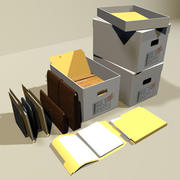 File Box and Folders 01 3d model