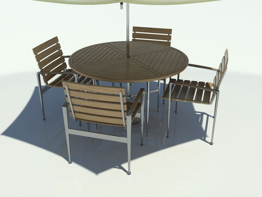 Outdoor Table And Chairs Set With Umbrella 3d Model 39 Obj Oth