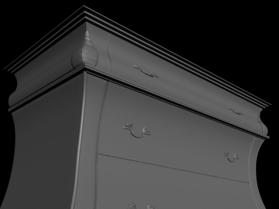 Wooden Locker (drawer) royalty-free 3d model - Preview no. 3