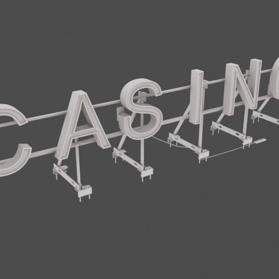 Rooftop Sign Hotel / Casino royalty-free 3d model - Preview no. 3
