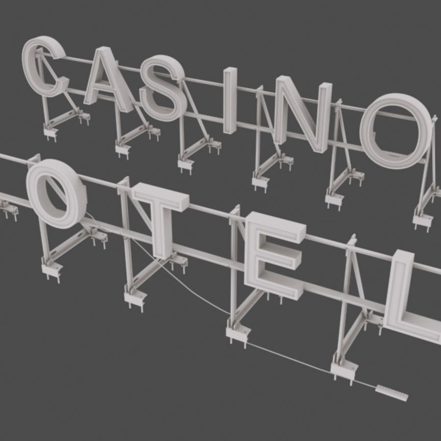 Rooftop Sign Hotel / Casino royalty-free 3d model - Preview no. 9