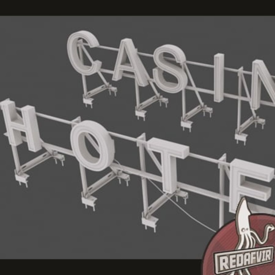 Rooftop Sign Hotel / Casino royalty-free 3d model - Preview no. 2