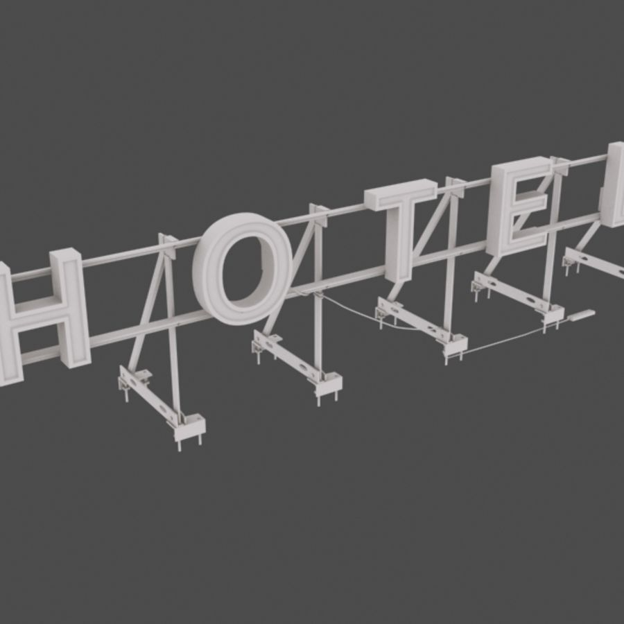 Rooftop Sign Hotel / Casino royalty-free 3d model - Preview no. 5