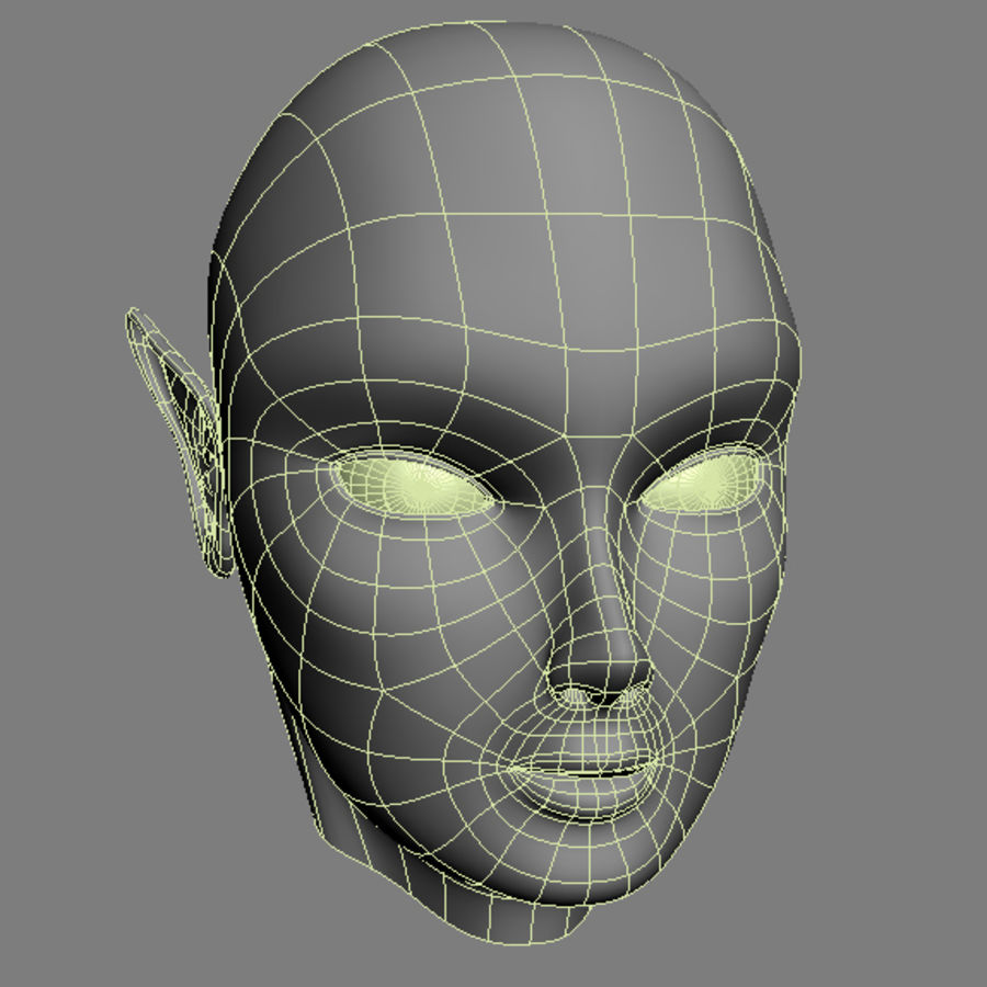 Elven Head royalty-free 3d model - Preview no. 4