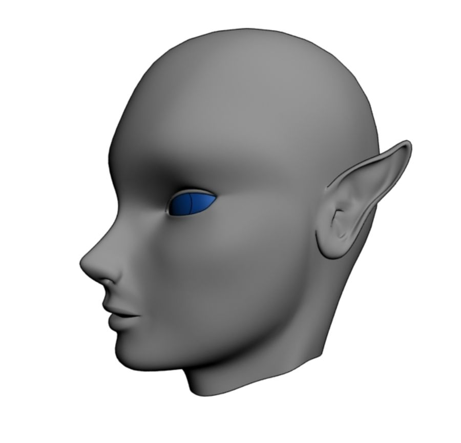 Elven Head royalty-free 3d model - Preview no. 3
