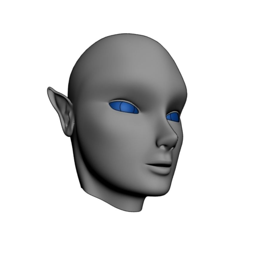 Elven Head royalty-free 3d model - Preview no. 1