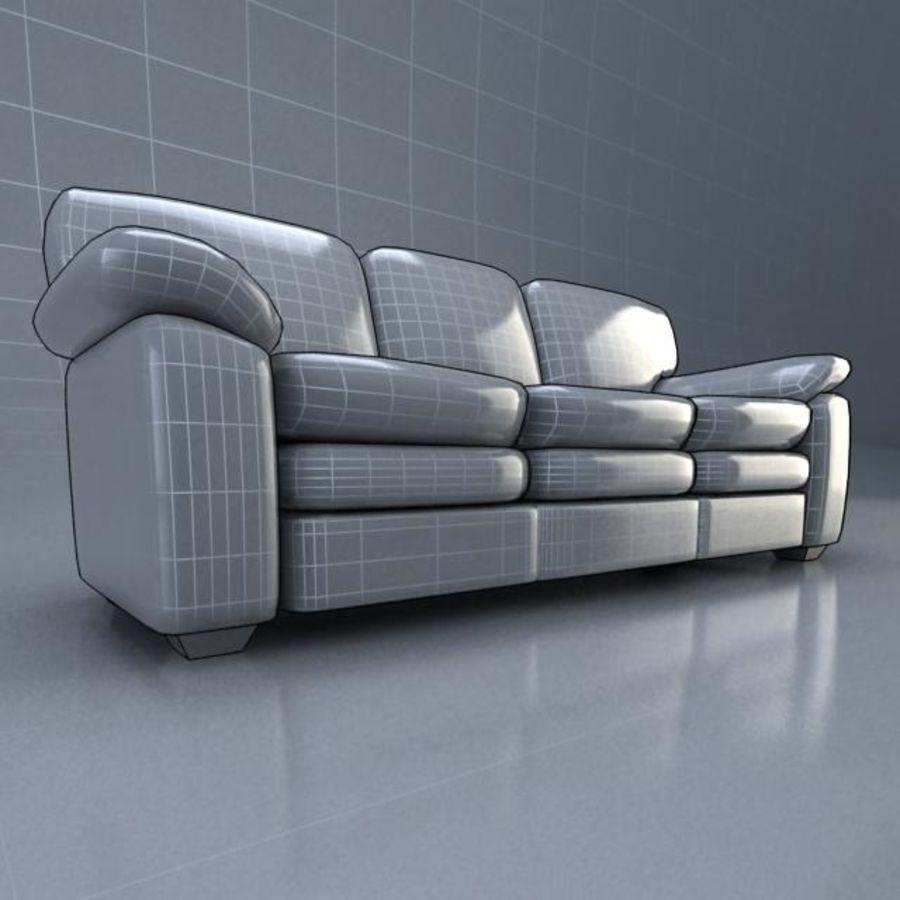 黑色皮革沙发3D模型 royalty-free 3d model - Preview no. 5
