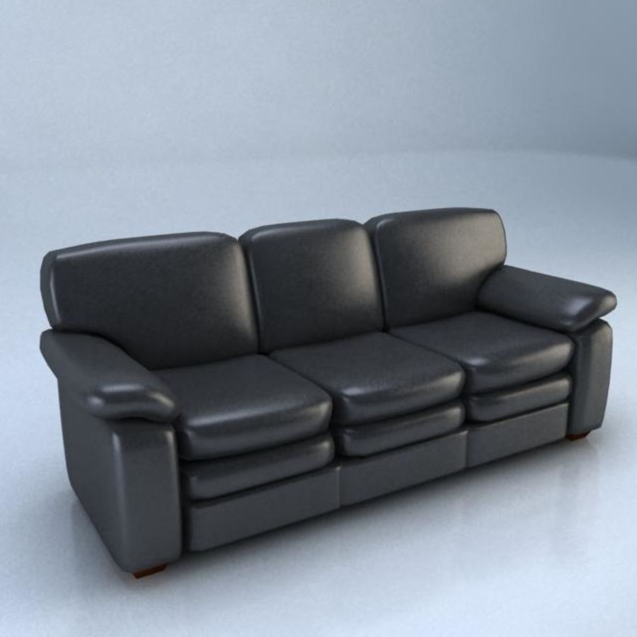 黑色皮革沙发3D模型 royalty-free 3d model - Preview no. 1