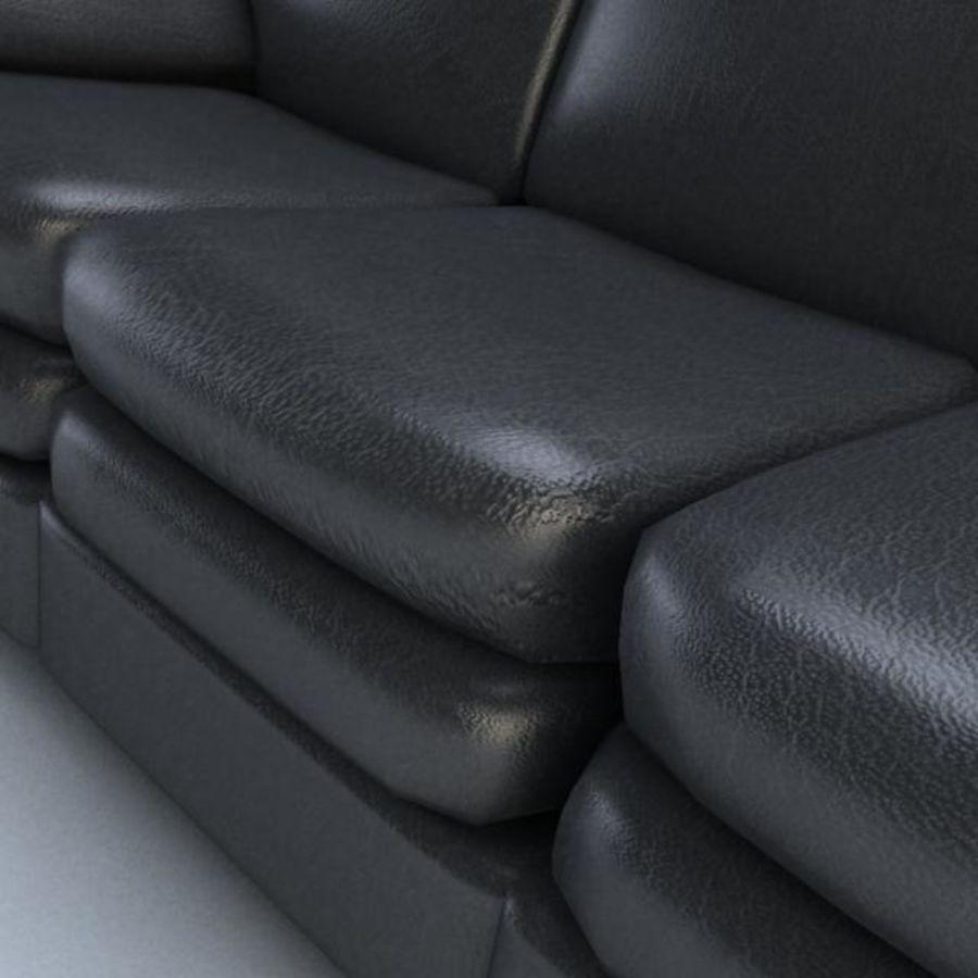 黑色皮革沙发3D模型 royalty-free 3d model - Preview no. 2