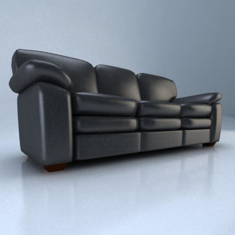 黑色皮革沙发3D模型 royalty-free 3d model - Preview no. 4