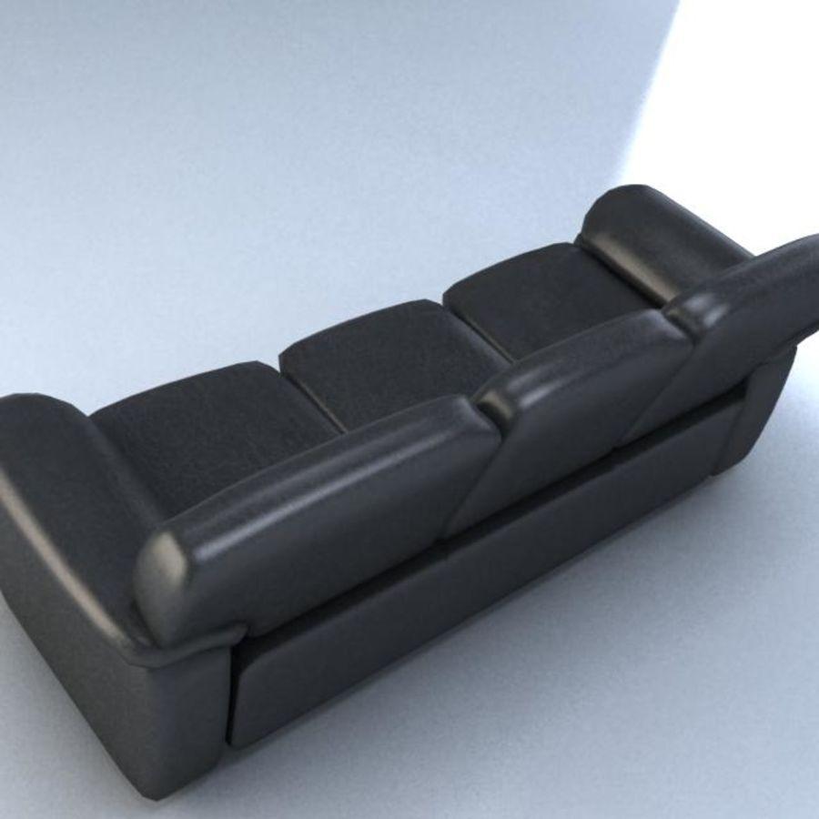 黑色皮革沙发3D模型 royalty-free 3d model - Preview no. 3
