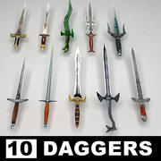 Fantasy daggers collection 3d model