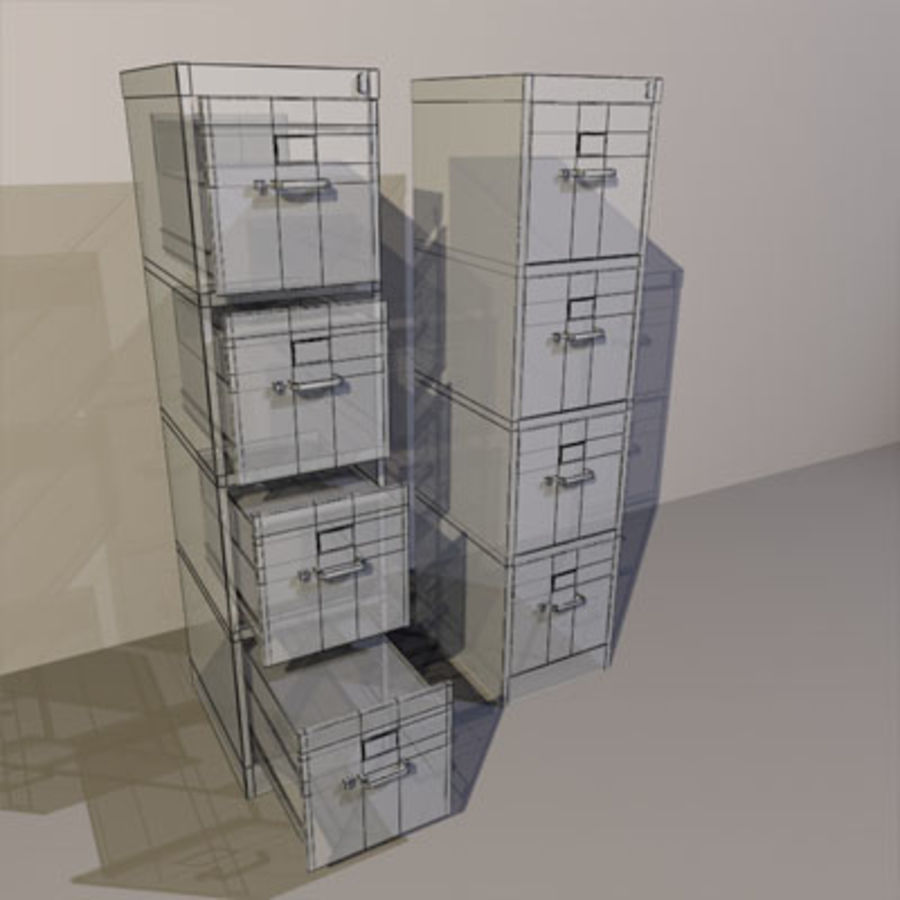 File Cabinets 02 royalty-free 3d model - Preview no. 3