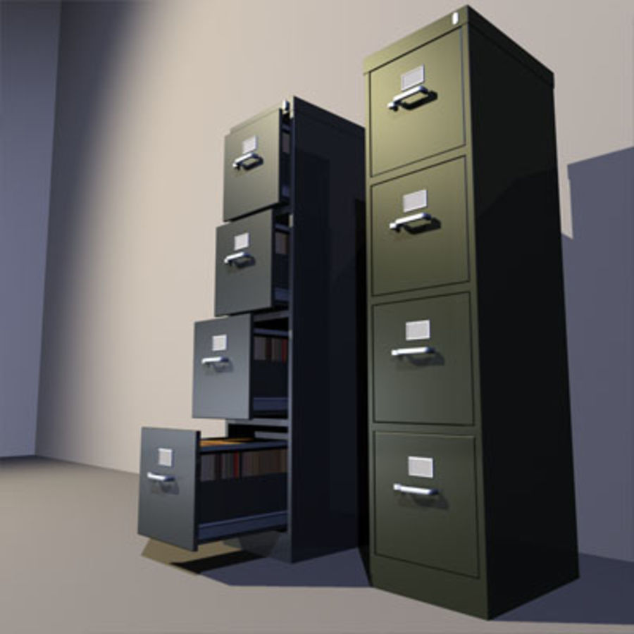File Cabinets 02 royalty-free 3d model - Preview no. 4