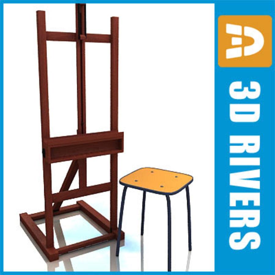 Staffelei und Stuhl von 3DRivers 3D Modell $30 .obj .max