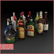 Collection de bouteilles d'alcool 3d model