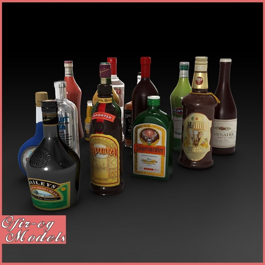 Liquor Bottles Collection royalty-free 3d model - Preview no. 1