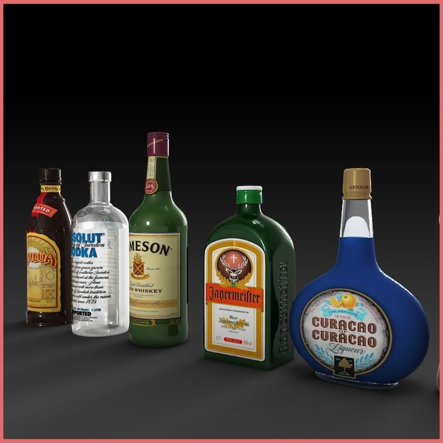 Liquor Bottles Collection royalty-free 3d model - Preview no. 4