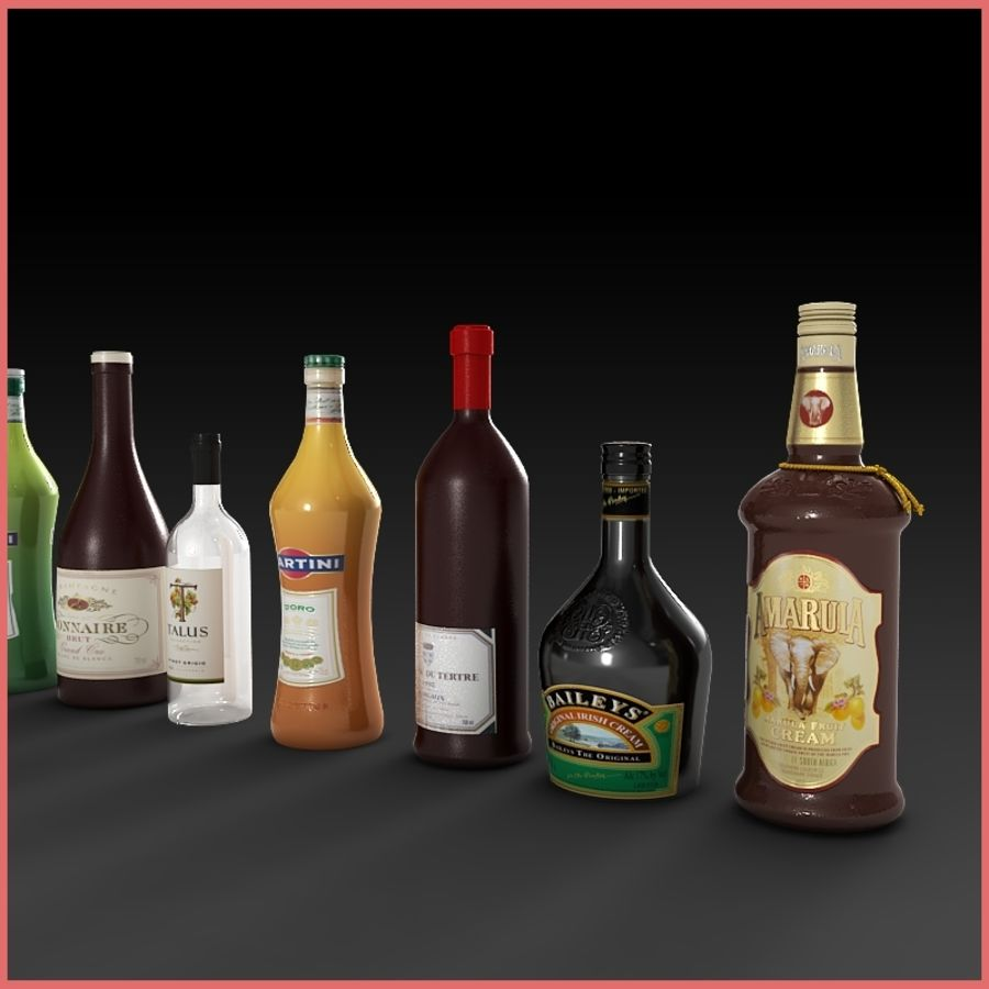 Liquor Bottles Collection royalty-free 3d model - Preview no. 3