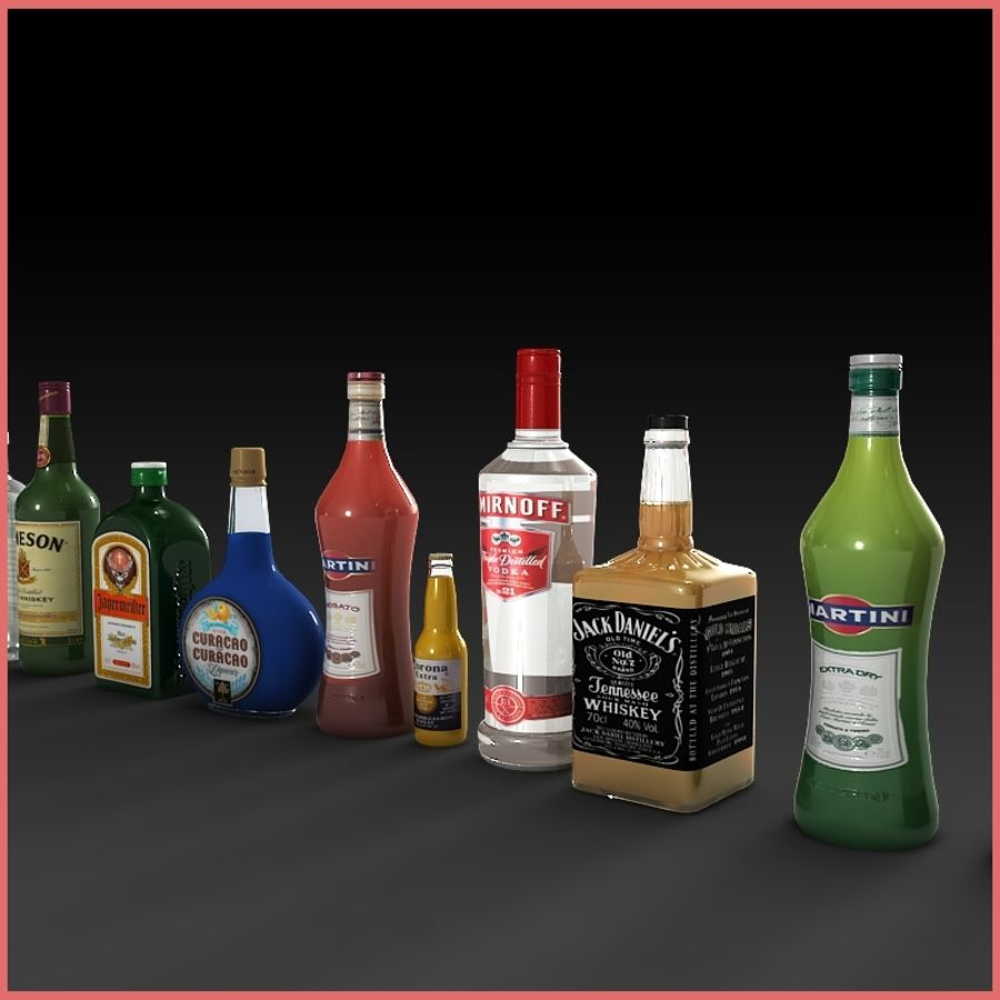 Liquor Bottles Collection royalty-free 3d model - Preview no. 2