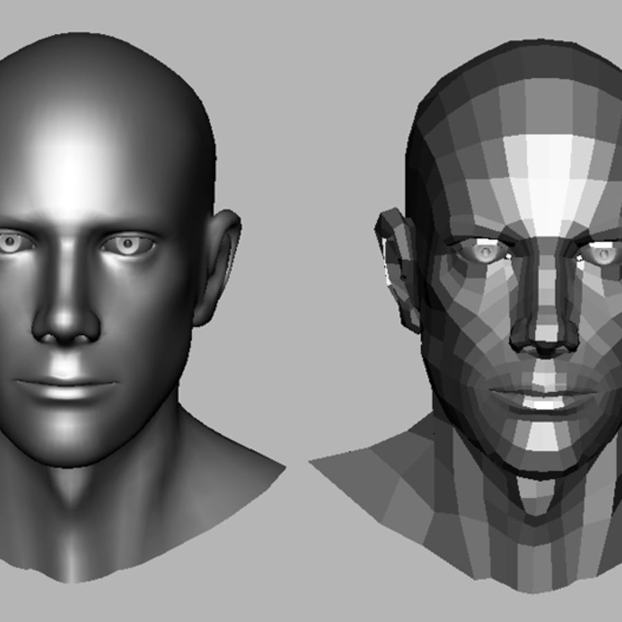 Male Head royalty-free 3d model - Preview no. 14